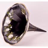 Antique Phonograph Flower Painted Black Horn