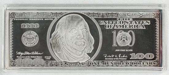 4oz .999 Silver $100 Bill
