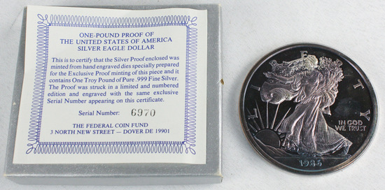 1986 1 Pound Troy Proof of USA Silver Eagle Dollar