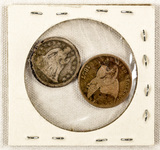 1841 Seated Liberty Dime & 1857 Flying Eagle Cent