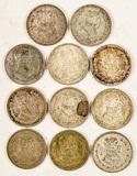11 Silver Mexican Pesos