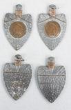 4 Arrowheads W/ Mounted Indian Head Pennies