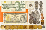 Mixed Canadian Coins and Bills