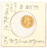 1874 US Indian Dollar Gold Coin