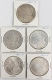 Lot of 5 1920s American Silver Morgan Dollars