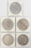 Lot of 5 1920s American Silver Peace Dollars