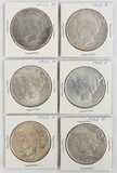 Lot of 6 1920s American Silver Peace Dollars