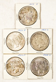 Lot of 5 American Silver Peace Dollars