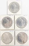 Lot of 5 American Silver Morgan Dollars