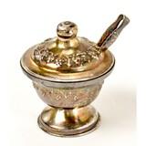 Antique Small Sterling Silver Salt Server w/mini
