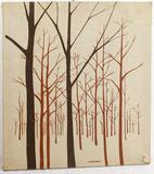 Vtg.1970's Marushka Landscape Tree Fabric Print