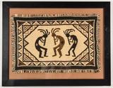 Framed Native American Style Woven Rug Art