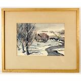 Framed Watercolor Painting on Paper-Gerhard Miller