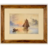 Framed Watercolor Painting on Paper-B.T. Newman
