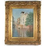 Venice Framed Oil on Canvas by R.Jaluzi