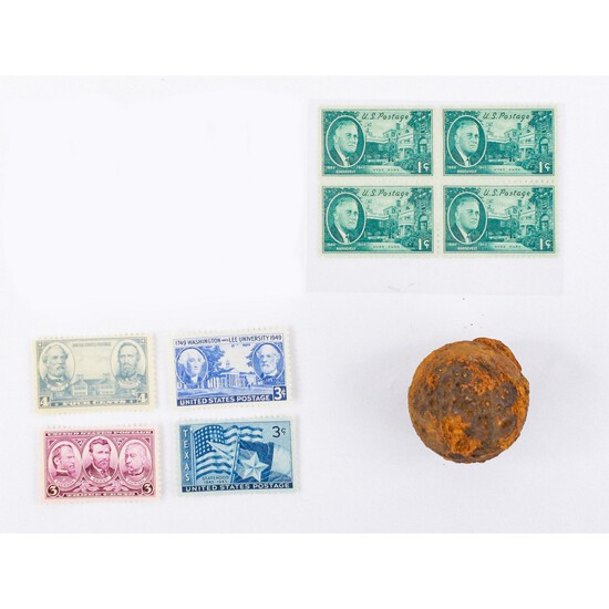 Civil War Canister Shot and Stamps