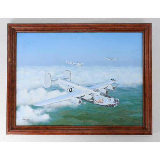 """Bob Weiler """"B-24 Bomber Impatient Lady"""" Painting"""
