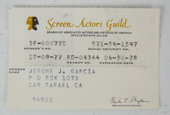 Jerry Garcia's SAG Membership Card, 1977