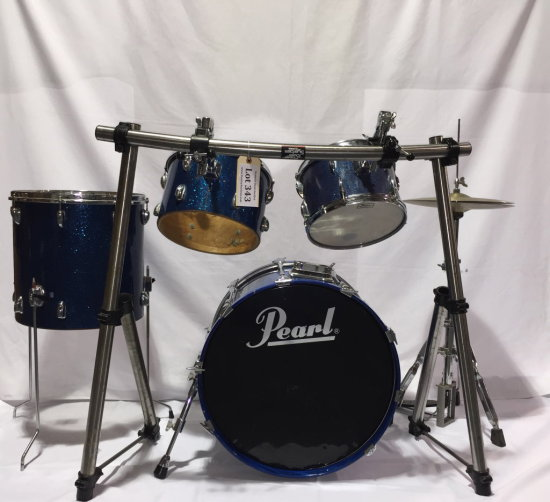 Mickey Hart's 'road used' Pearl Drum Kit w/Special Custom Curved Tom Rack & ADD-ON ITEMS for CHARITY