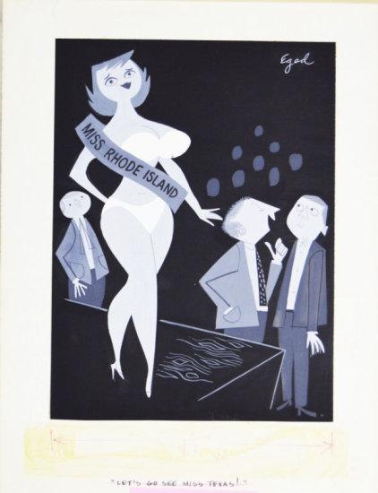 Fling 1960's Black & White Illustrated Cartoon