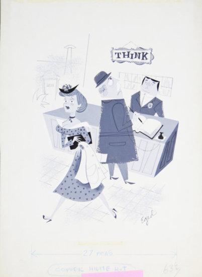 Fling Circa 1960s Black & White Illustrate Cartoon