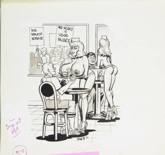 Fling Circa 1980s Black & White Illustrate Cartoon