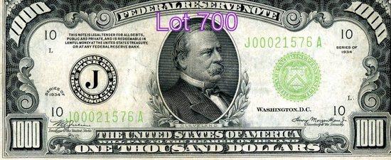 1,000 Bill, SN: J00021576A, SERIES OF 1934