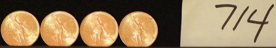 1981 1/4 Onza Oro Puro (.900), Winged Victory Above Legend,  Estados Unidos Mexicanos