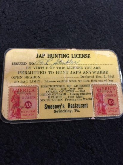 Vintage Jap Hunting License From Sweeny's Restaurant 1941