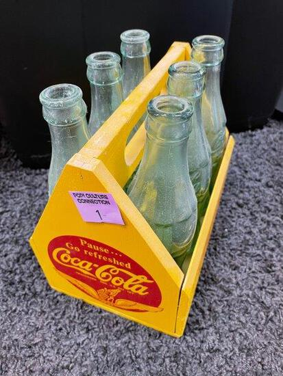 Coca Cola Yellow 6 Pack Wooden Crate