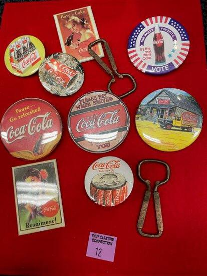Vintage Coca Cola Pins And Bottle Openers Lot