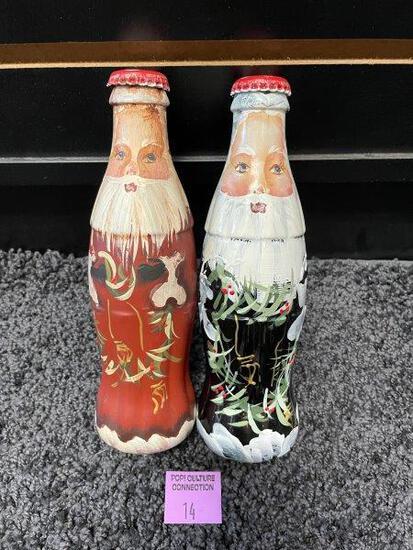Coca Cola Hand Painted Christmas Santa Bottles