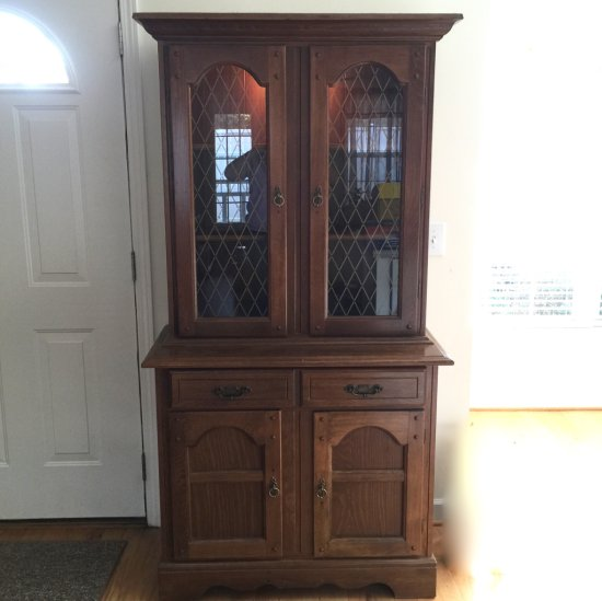 Wooden 2 Drawer Light-up China/Display Cabinet with Upper & Lower Cabinets