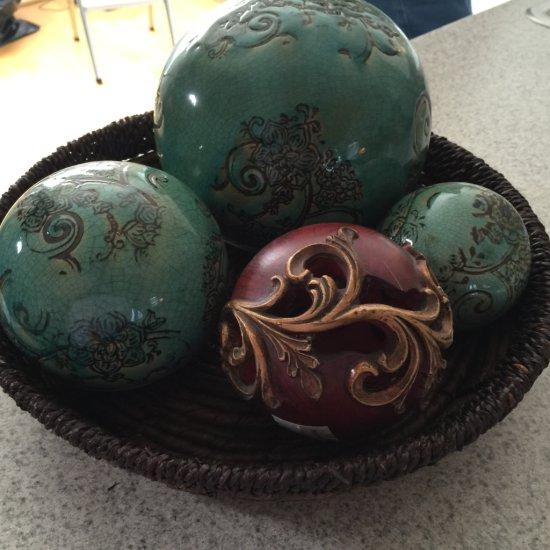 Basket Centerpiece with Decorative Balls