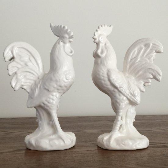 """Pair of Ceramic Roosters Signed """"Napa"""" Japan"""