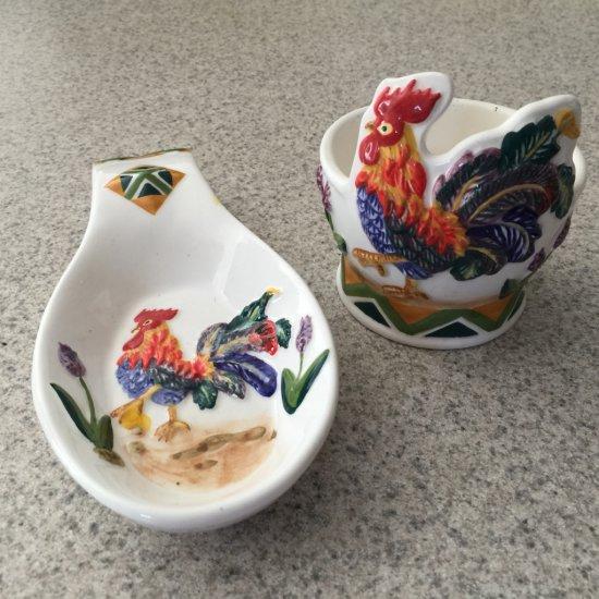 Ceramic Rooster Spoon Holder Set