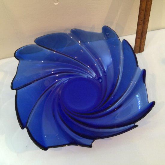 Vintage Large Cobalt Blue Square Swirl Bowl