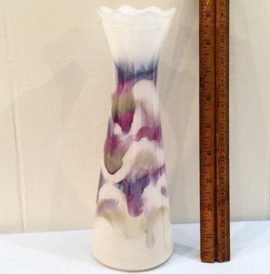 Pretty White with Purple & Blue Iridescent Glass Vase