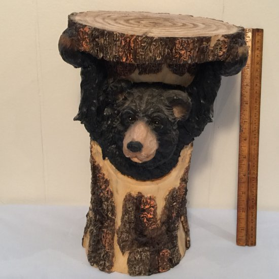Black Bear in Stump Small Table/Plant Stand