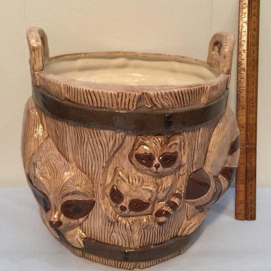 Large Vintage Ceramic Raccoon Planter