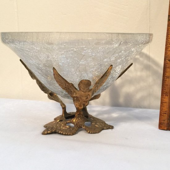 Vintage Crackle Glass Bowl with Triple Brass Angel Base