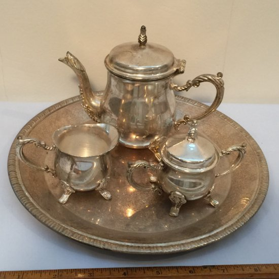 International Silver Co. Mini Silver Plated Tea Set with Tray