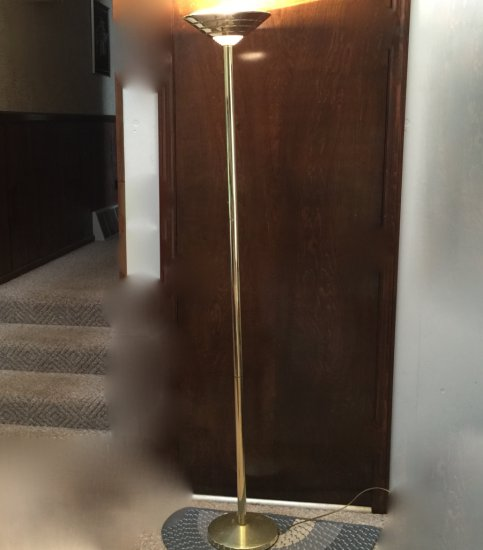 Tall Brass Tone Torchiere Floor Lamp