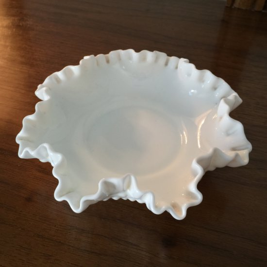Vintage Ruffled Top Hobnail Milk Glass Dish