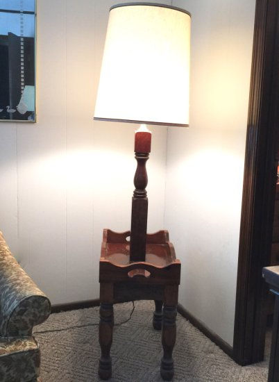 Vintage Wooden Floor Lamp Side Table