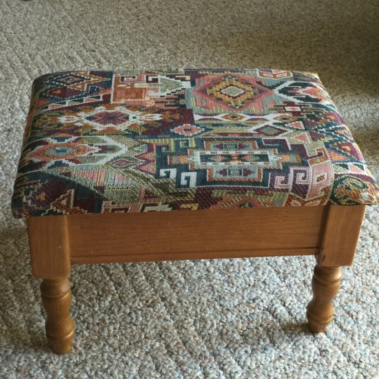 Wooden & Tapestry Foot Stool with Storage