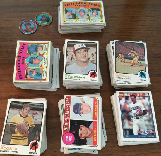Large Lot of 1960's & 1970's Baseball Cards & Metal Caps
