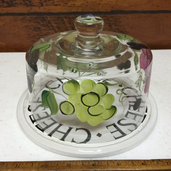 "Glass ""Cheese"" Dish with Glass Dome"