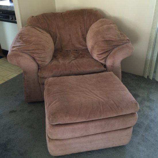 Light Mauve Large Arm Chair & Ottoman
