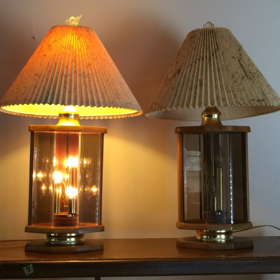 Pair of Glass & Wood Lamps